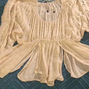 Free People Tops - Free People Gypsy Gold Sequin Top
